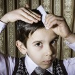 Child vintage clothes decided his hair — Stock Photo