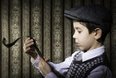 Child considered analog photographic film — Stock Photo