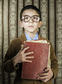 Child with red vintage book — Foto de Stock