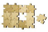 Wooden puzzle on white background.  — Foto de Stock