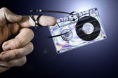 Hand holding vintage cassette tape — Zdjęcie stockowe
