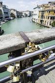 Padlocks of lovers placed on the bridge — Stock Photo