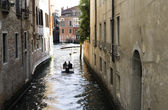 Man on a boat in Venice — Stock Photo
