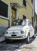 White small vintage Fiat Abarth — Stock Photo
