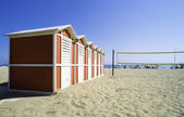 Wooden cabins on the beach — Stock Photo