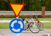 A road sign with bicycles — Stock Photo