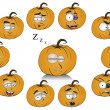 Pumpkins with funny faces — Stock Photo