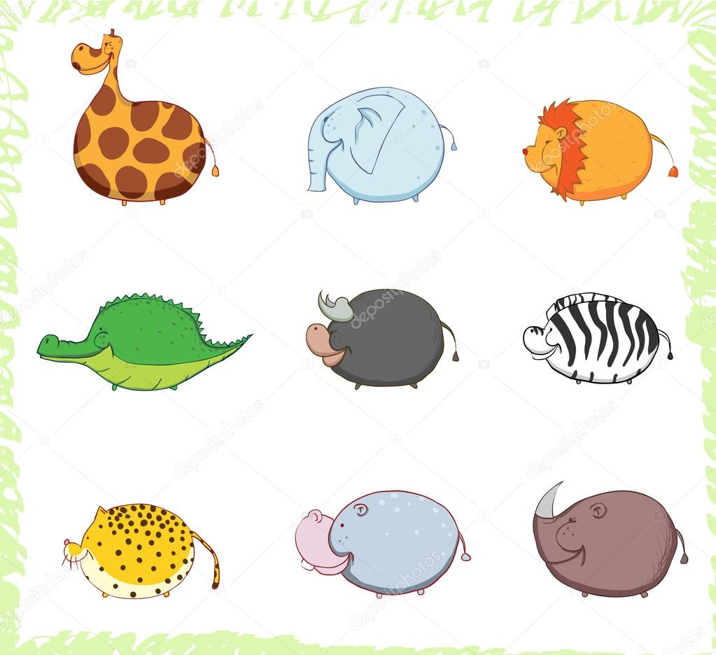 Thick African animals are sideways and smiling. Children's fun illustration. — Stock Photo #12764399