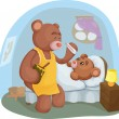 Sick teddy bear with her mother — Stock Photo