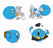 Four blue birds and learning — Stock Photo