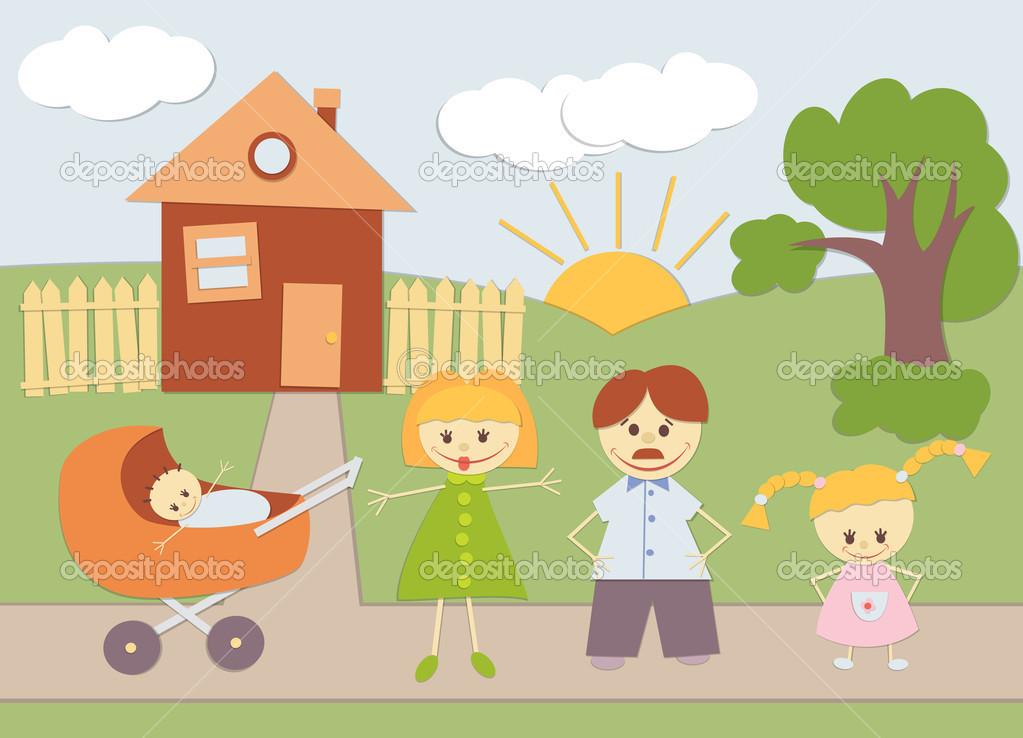 家庭和房子剪影颜色