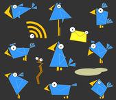 Simgesi mavi kuşlar — Stok Vektör