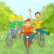Children Ride Bike — Stock Vector