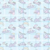 Baby Seamless Wallpaper Transportation — Stock Vector