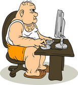 Fat Man At The Computer — Stock Vector