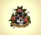 Old School Tattoo Skull — Stock Vector