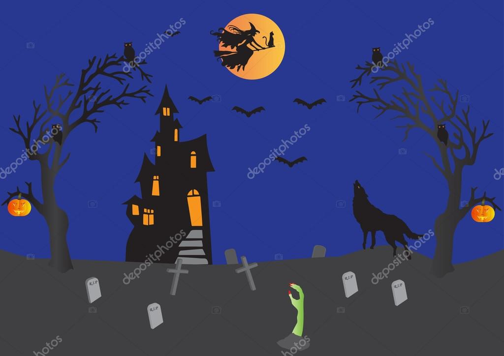 Halloween with Haunted House,Witch on Broomstick with cat,bats,wolf howling,pumpkins,graveyard,ghostly hand  Stock Vector #13392452