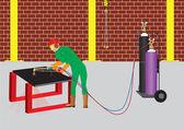 Cortador de oxi-acetileno — Vetorial Stock