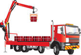 Red Crane Truck — Stock Vector