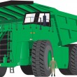 Stock Vector: Green Dumper Truck