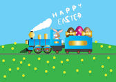 Easter Steam Train — Stock Vector