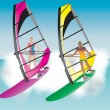 Stock Vector: Windsurfing Women