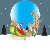 Santa and Moon — Stock Vector