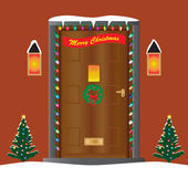 Christmas Door — Stock Vector