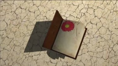 Old book with turning pages, growing tree and grass — Stock Video