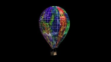 Flying aerostat with basket, transforming to planet — Stock Video