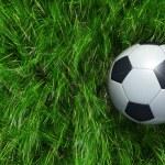 Football ball on green grass — Stock Photo