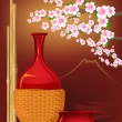 Japan tradition style with sake,flowers,bamboo — Stock Vector