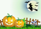 Decorative halloween celebrate background flying whitch — Stok Vektör