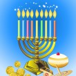 Hanukkah candles, donuts, oil pitcher and spinning top - Stock Vector