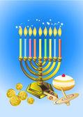 Hanukkah mumlar, börekler, yağ atıcı ve iplik üst — Stok Vektör