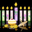 Stock Vector: Hanukkah background with candles