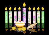 Hanukkah bakgrund med ljus — Stockvektor