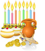 Hanukkah candles, donuts, oil pitcher and spinning top — Vettoriale Stock