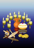 Hanukkah ljus, munkar, olja pitcher och snurra — Stockvektor