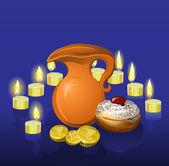 Chanukka semester bakgrund med ljus — Stockvektor