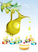 Hanukkah background with candles, oil and olive tree — Stock Vector