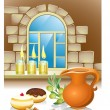 Hanuka still life background with candles, donuts, window — Stok Vektör