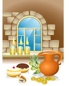 Hanuka natürmort arka mumlar, börekler, pencere — Stok Vektör