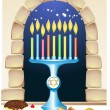 Hanuka still life background with candles, donuts, window — Imagen vectorial