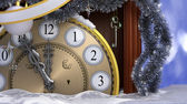 Happy New Year background with old clock — Stock Photo