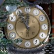 Happy New Year and Merry Christmas background with old clock — Stock Photo #16817317