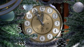 Happy New Year and Merry Christmas background with old clock — Stock Photo