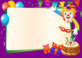 Birthday decorative border with cake, candles, balloons and clown — Stock Vector