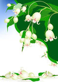 Beautiful spring bells flowers on elegant background — Stok Vektör