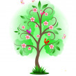 Decorative nature tree with birds — Imagen vectorial